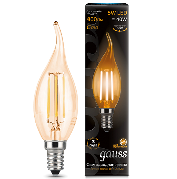 картинка Лампа Gauss LED Filament Candle tailed E14 5W 2700K Golden 1/10/50 Светильники